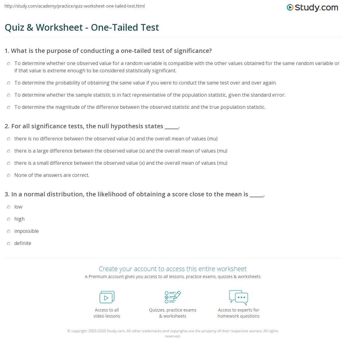 Quiz Worksheet OneTailed Test – Hypothesis Testing Worksheet