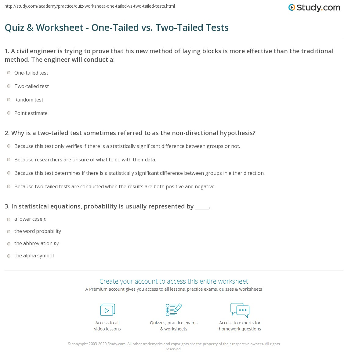 Quiz Worksheet One Tailed Vs Two Tailed Tests Study