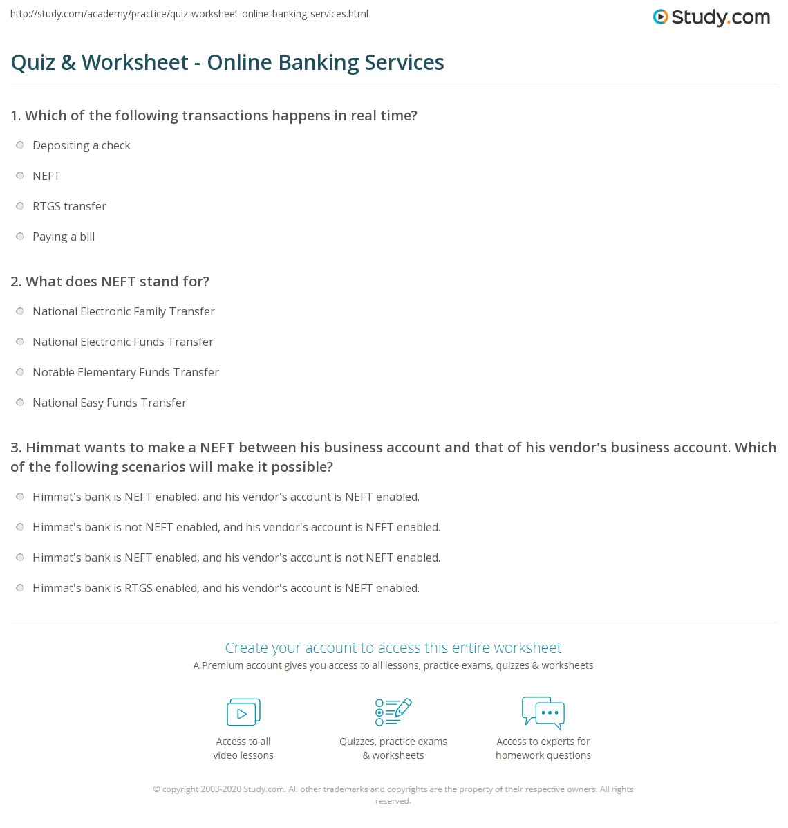 quiz & worksheet - online banking services | study