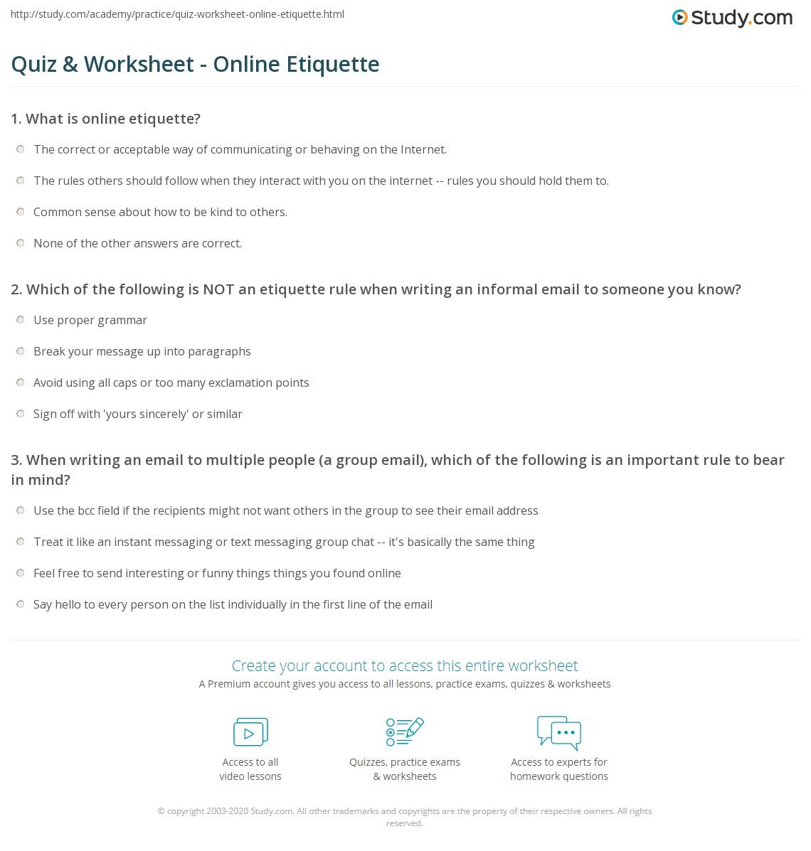 Quiz & Worksheet - Online Etiquette | Study.com