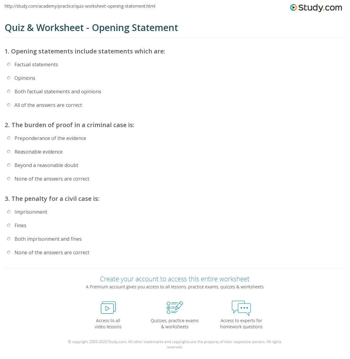 Quiz Worksheet Opening Statement Study