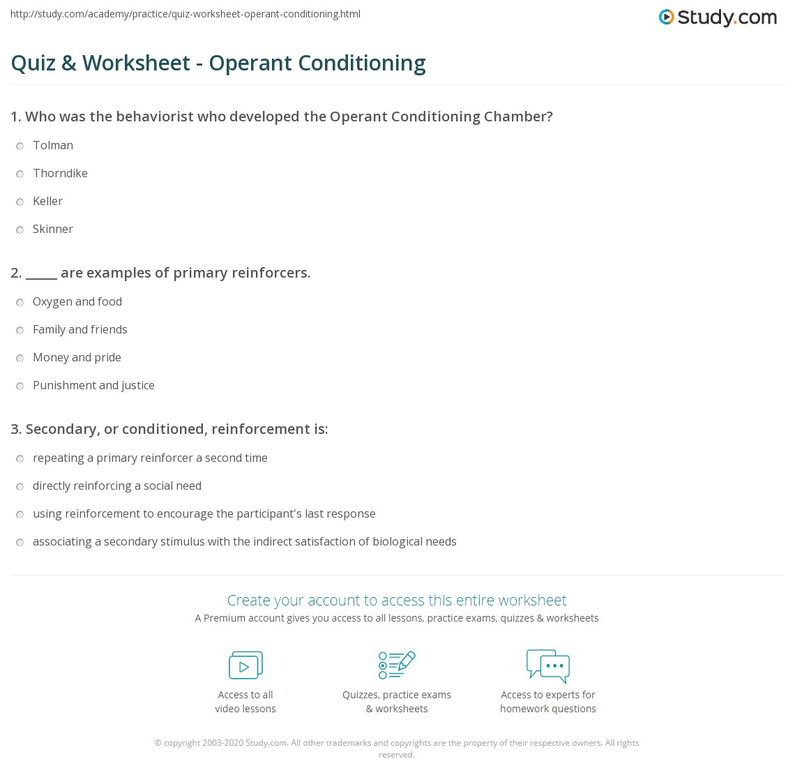 Operant Conditioning Worksheet Quiz & Worksheet -...