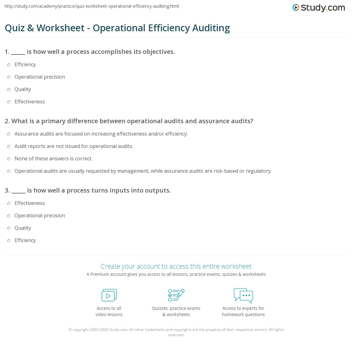 Quiz & Worksheet - Operational Efficiency Auditing