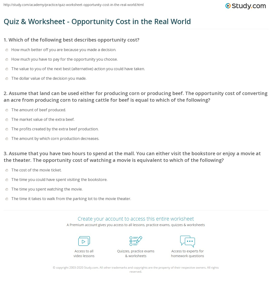 quiz worksheet opportunity cost in the real world. Black Bedroom Furniture Sets. Home Design Ideas