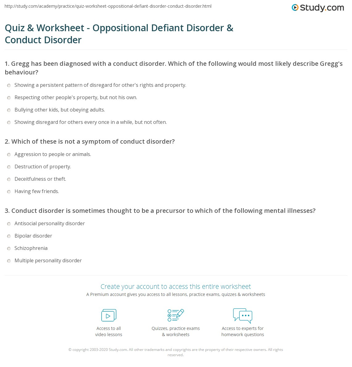 quiz worksheet oppositional defiant disorder conduct disorder