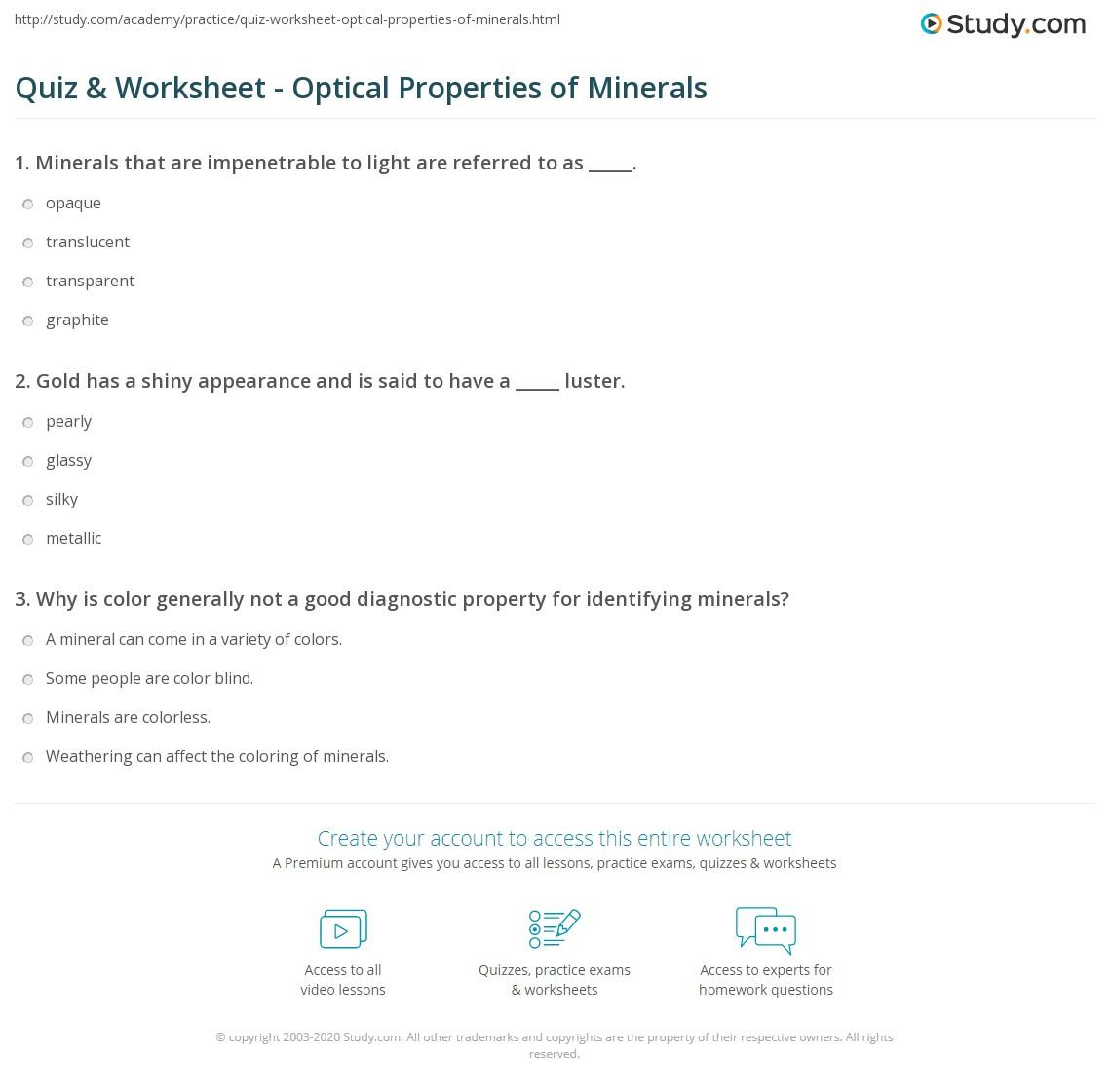 Quiz & Worksheet - Optical Properties of Minerals | Study.com