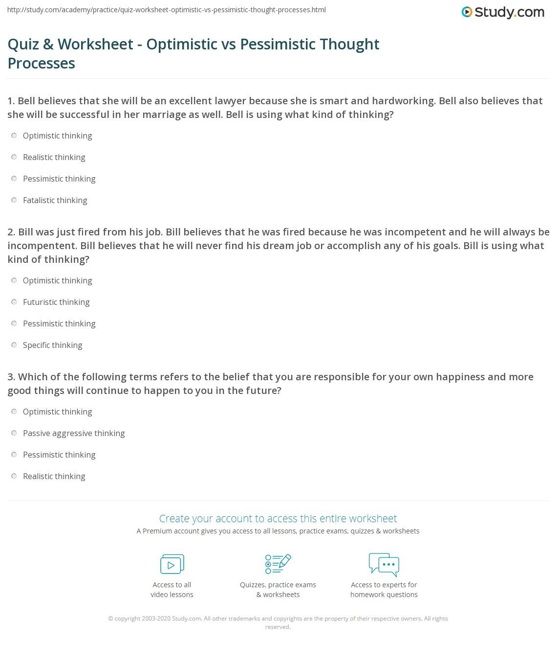 Quiz & Worksheet - Optimistic vs Pessimistic Thought Processes ...