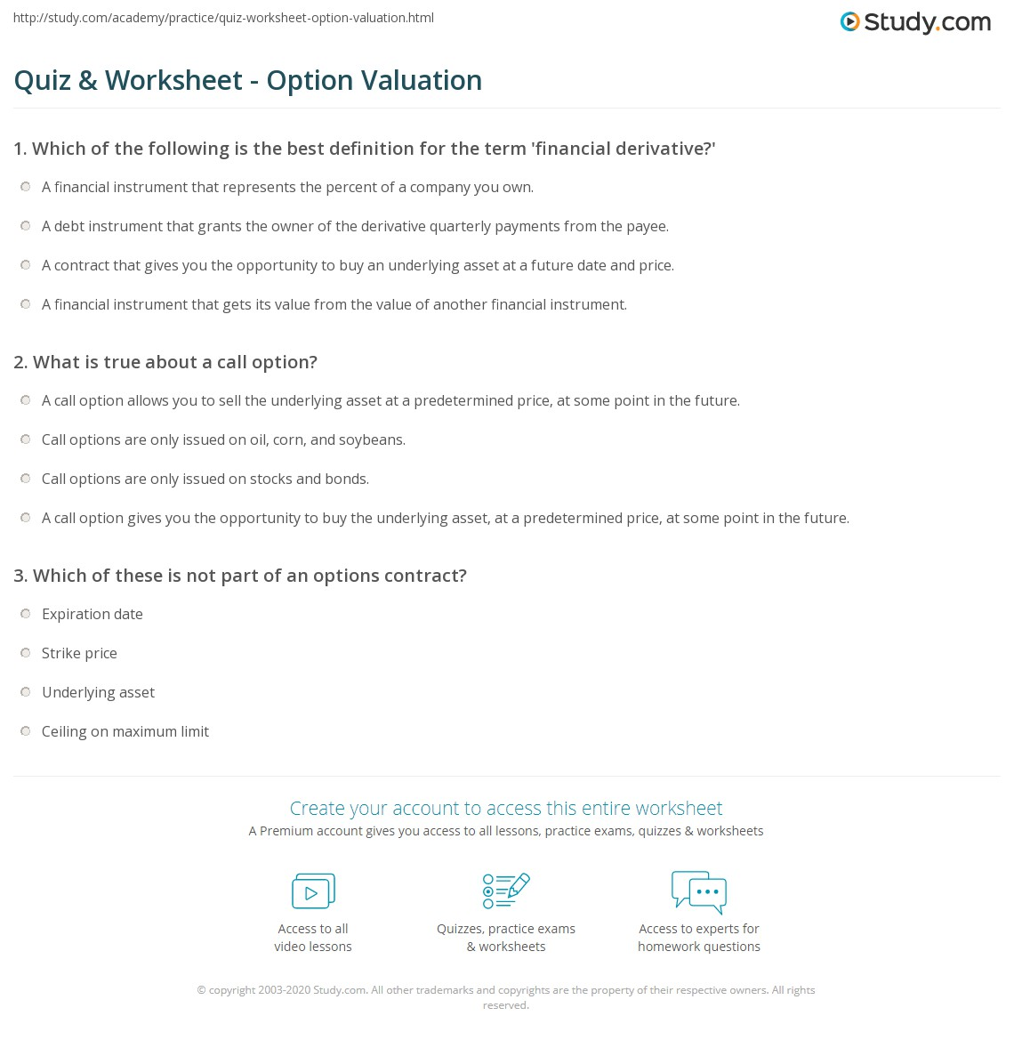 quiz & worksheet - option valuation | study
