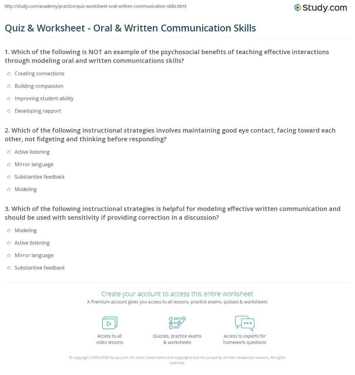 Quiz Worksheet Oral Written Communication Skills Study