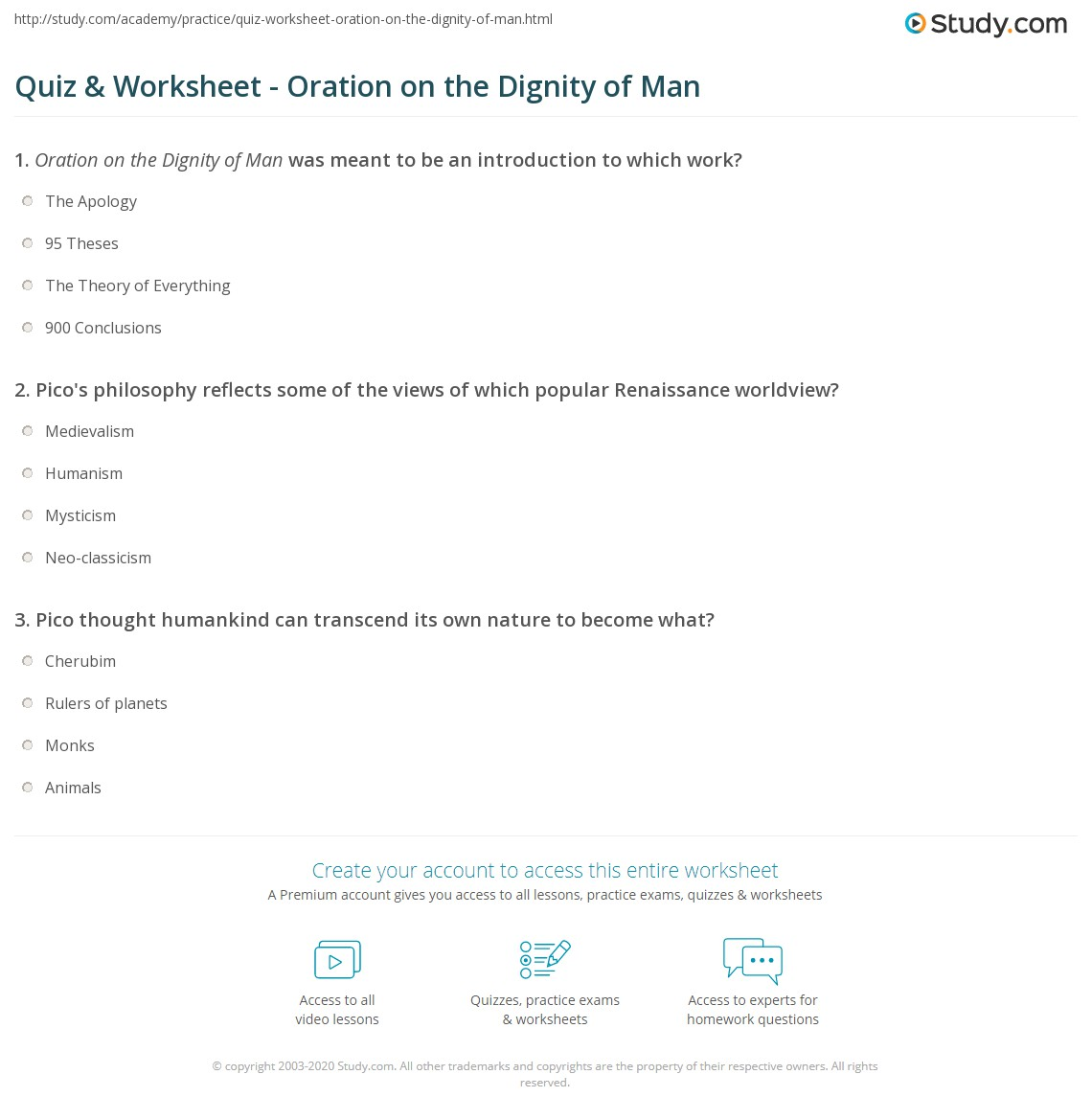 quiz worksheet oration on the dignity of man. Black Bedroom Furniture Sets. Home Design Ideas