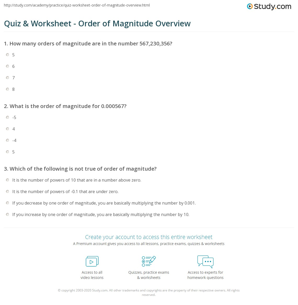 Quiz & Worksheet - Order of Magnitude Overview | Study.com