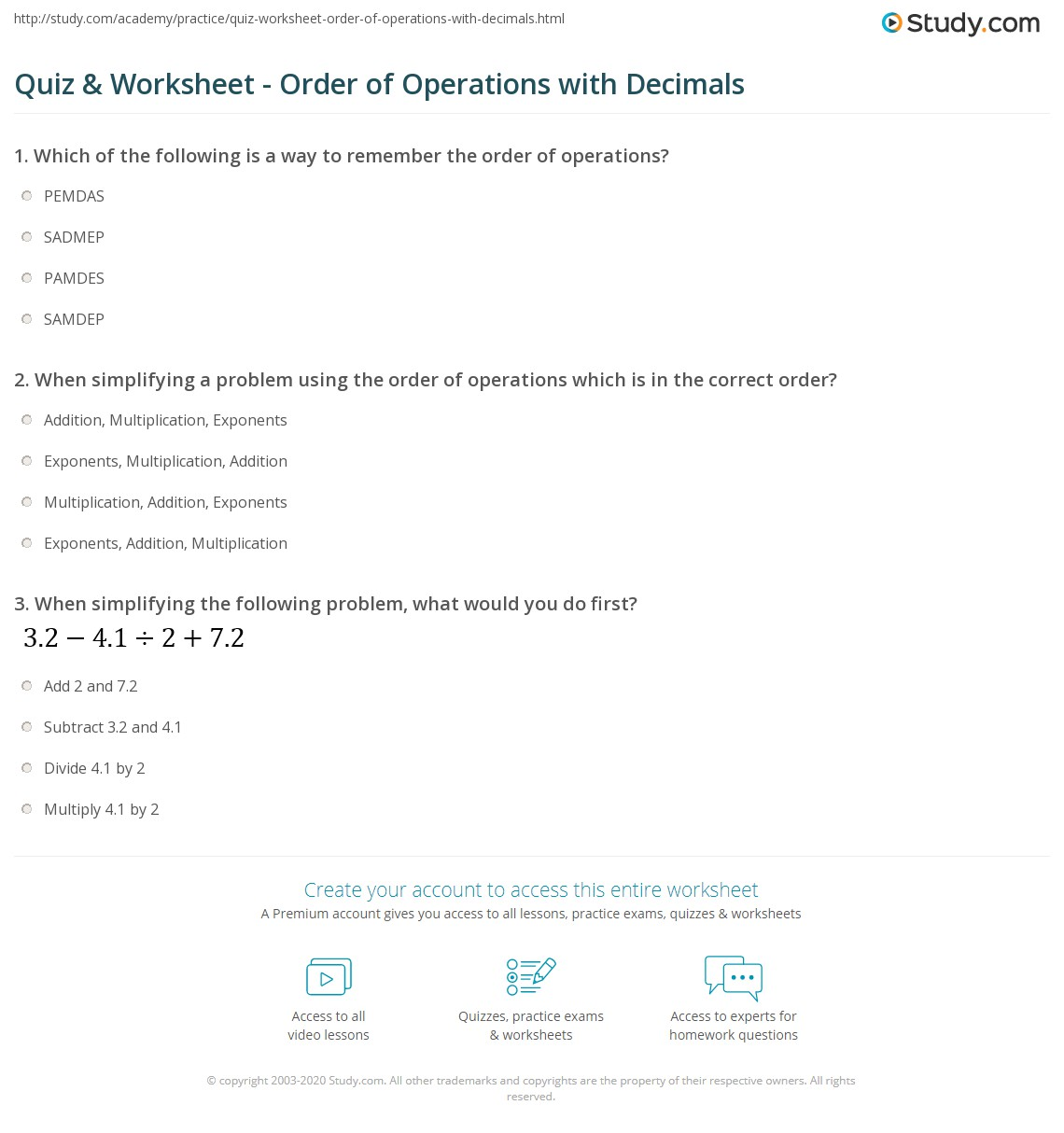 quiz  worksheet  order of operations with decimals  studycom print order of operations with decimals worksheet