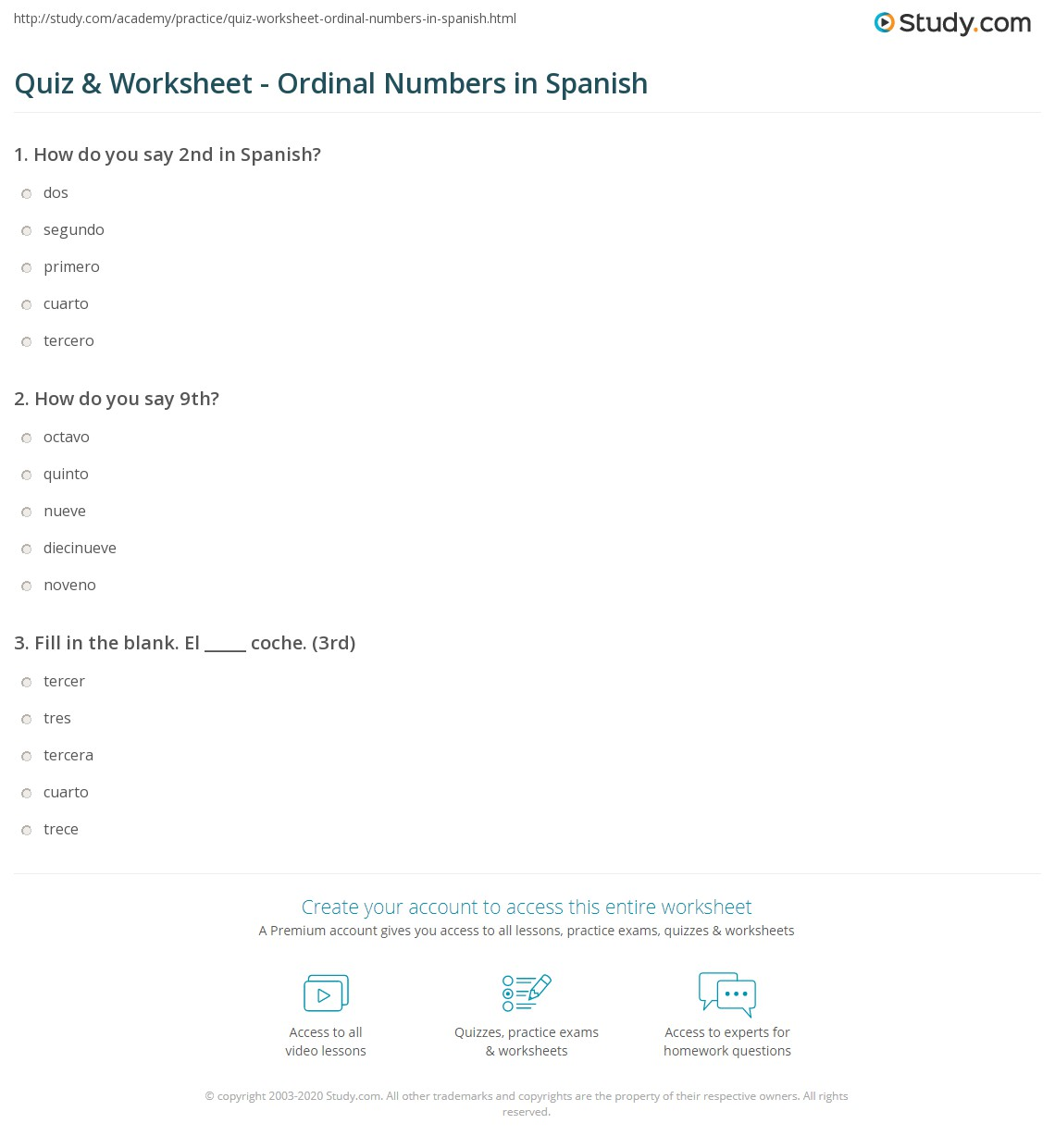 Worksheets Beginners Spanish Worksheets quiz worksheet ordinal numbers in spanish study com print worksheet