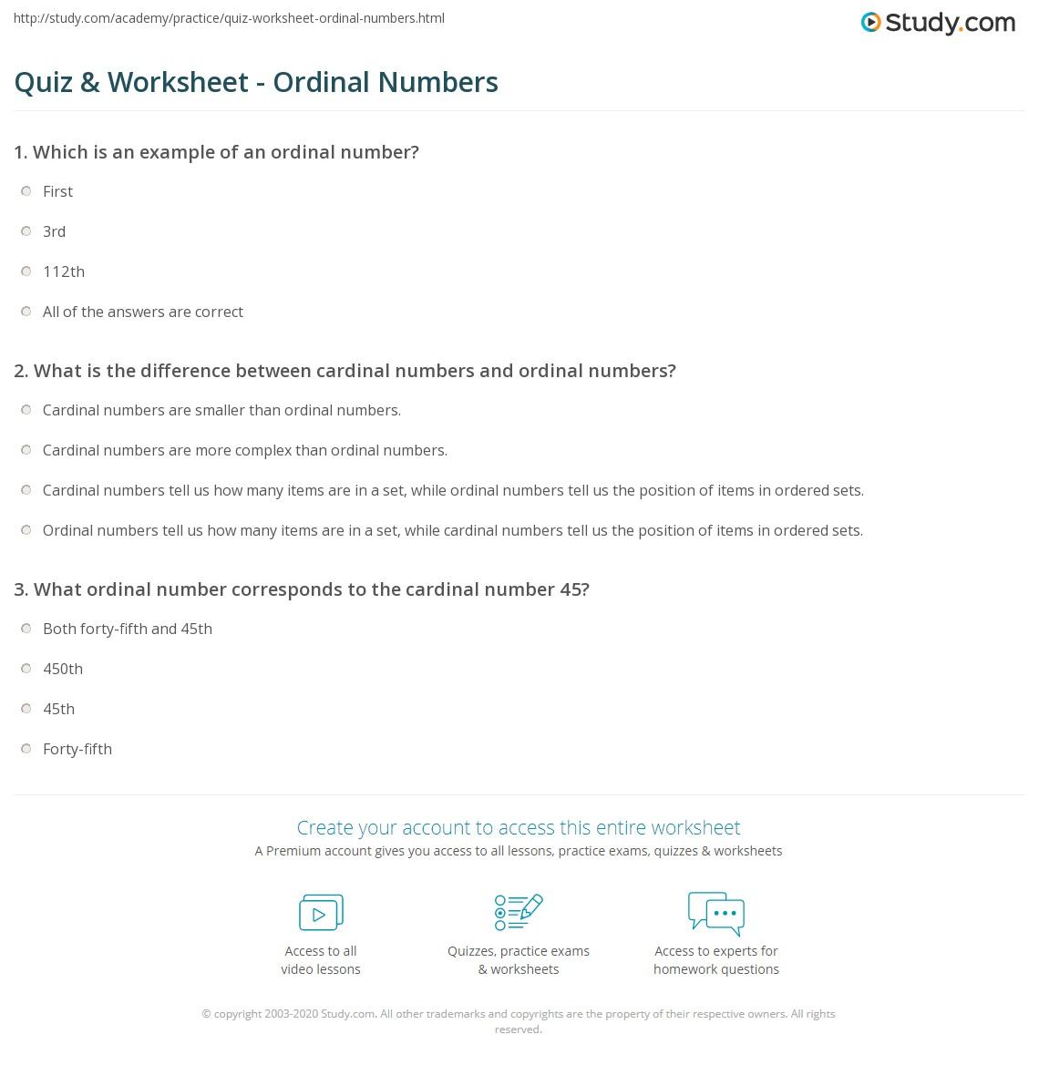 worksheet Ordinal Numbers Worksheets quiz worksheet ordinal numbers study com print what is an number definition example worksheet