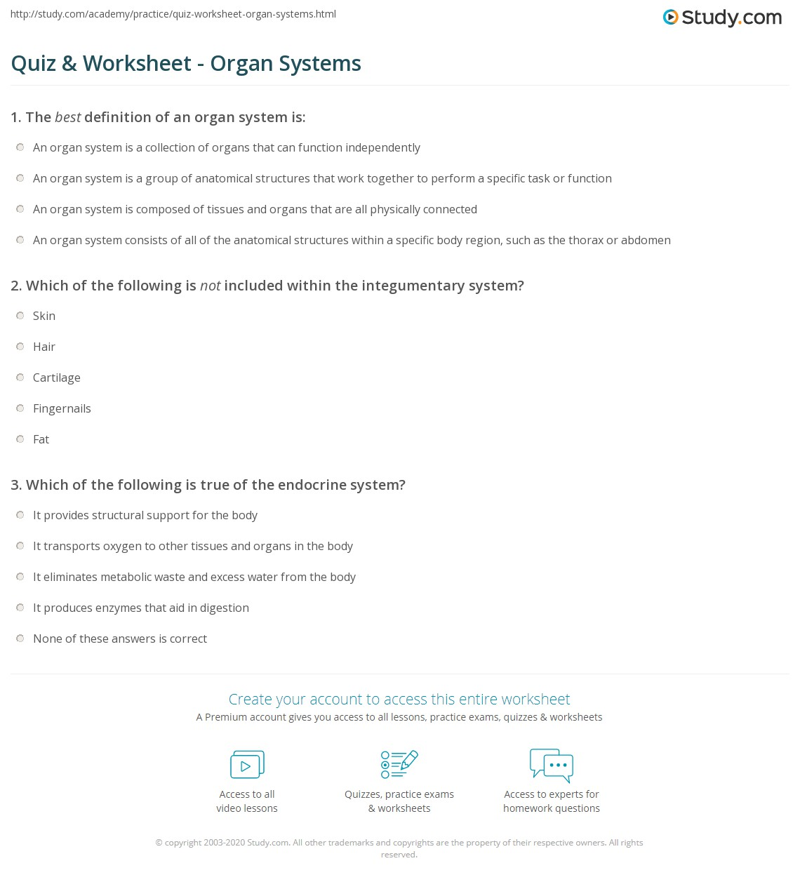 Quiz & Worksheet - Organ Systems | Study.com