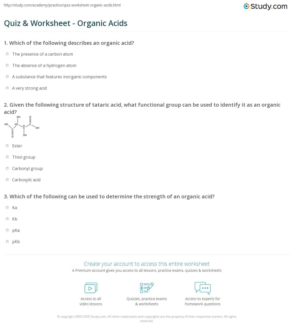 Quiz Worksheet Organic Acids Study