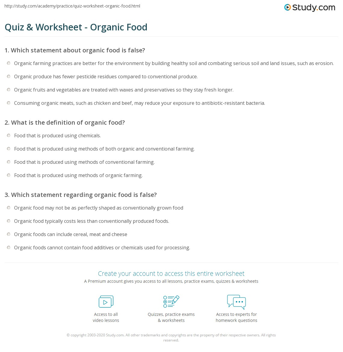 quiz & worksheet - organic food | study