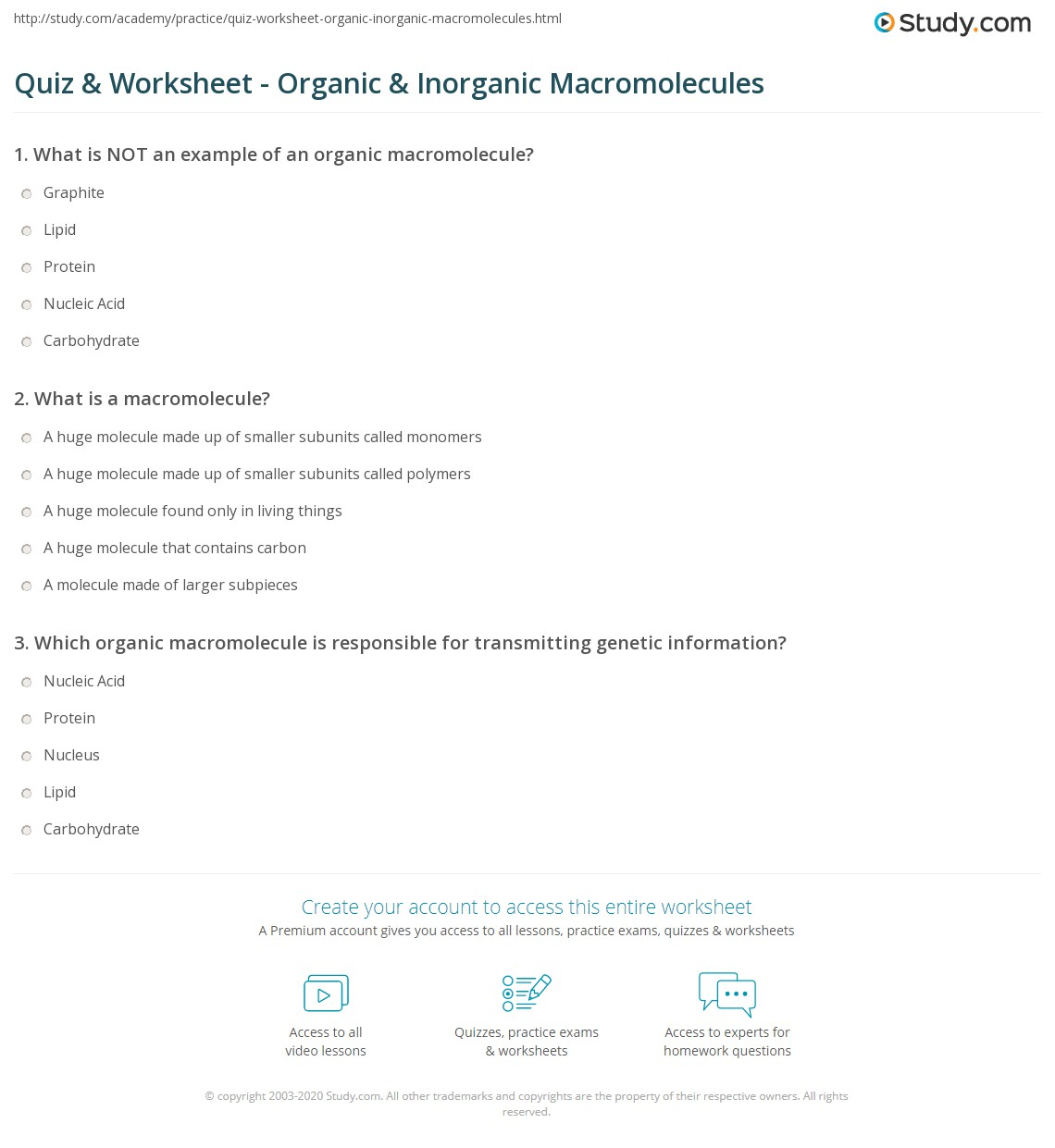 Worksheets Macromolecule Worksheet quiz worksheet organic inorganic macromolecules study com print intramolecular bonding and identification of worksheet