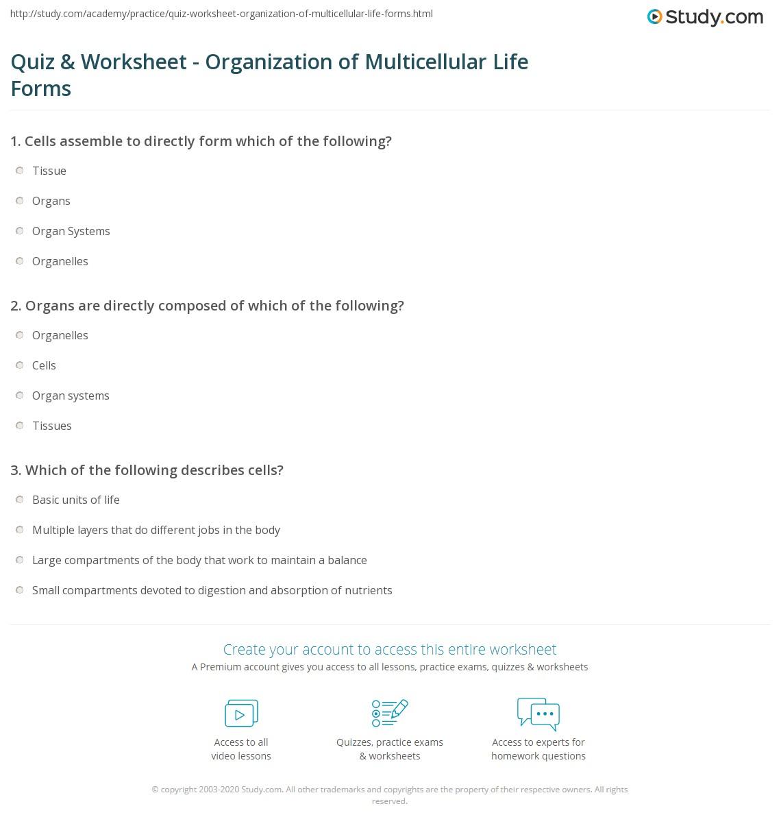 quiz worksheet organization of multicellular life forms study com rh study com section 5 multicellular life study guide a answers multicellular life study guide 5.5 answer key