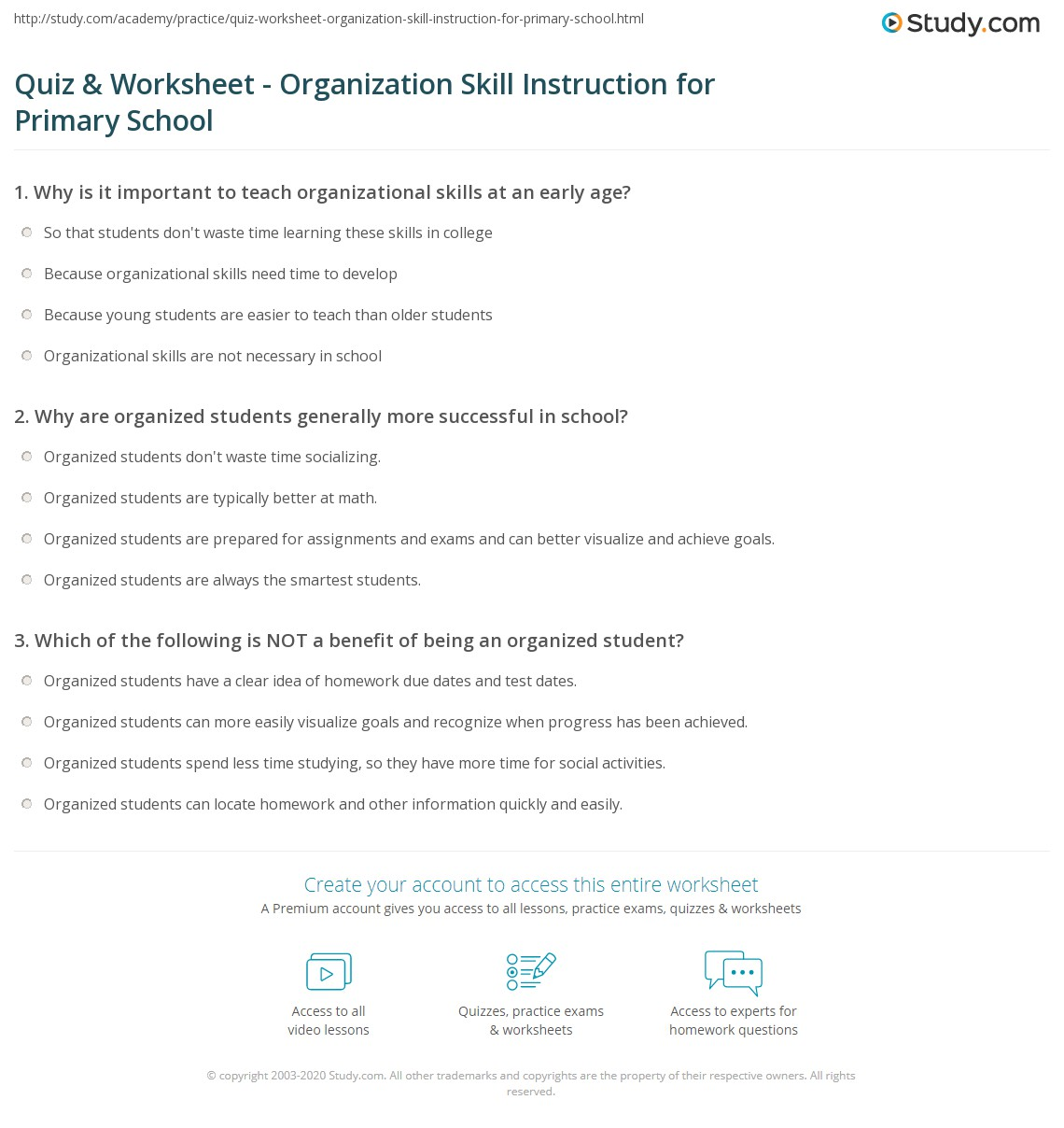 Quiz & Worksheet - Organization Skill Instruction for Primary School ...
