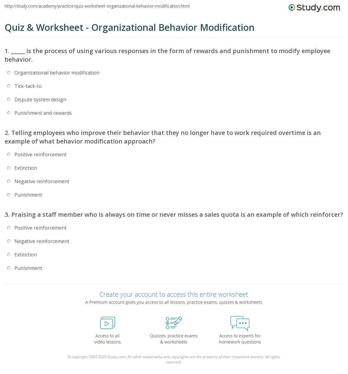 quiz worksheet organizational behavior modification com print organizational behavior modification definition example worksheet