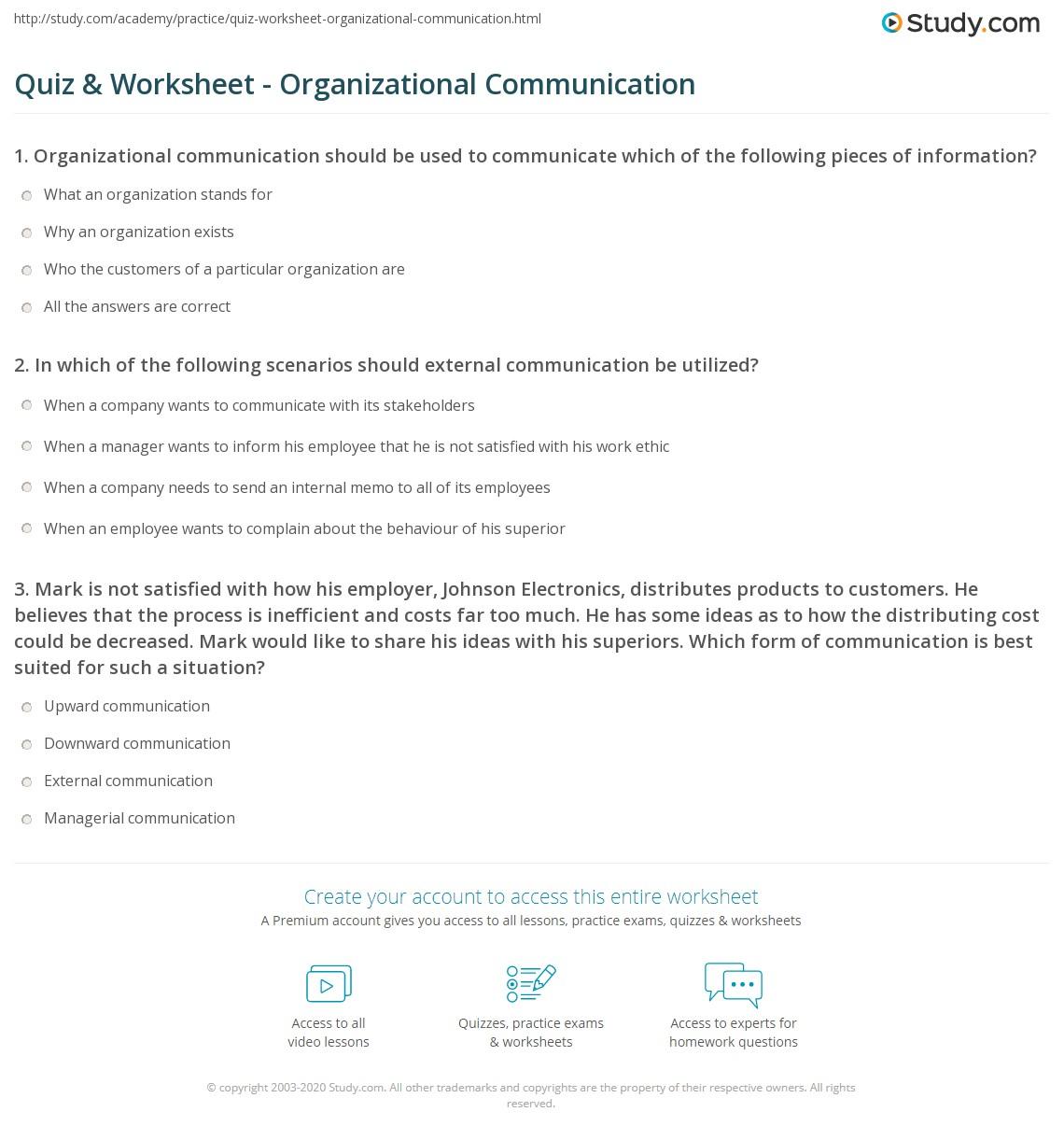 Print Organizational Communication Worksheet