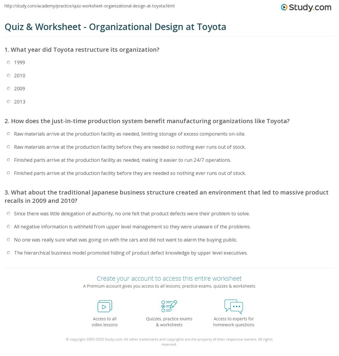 Quiz & Worksheet - Organizational Design at Toyota | Study.com