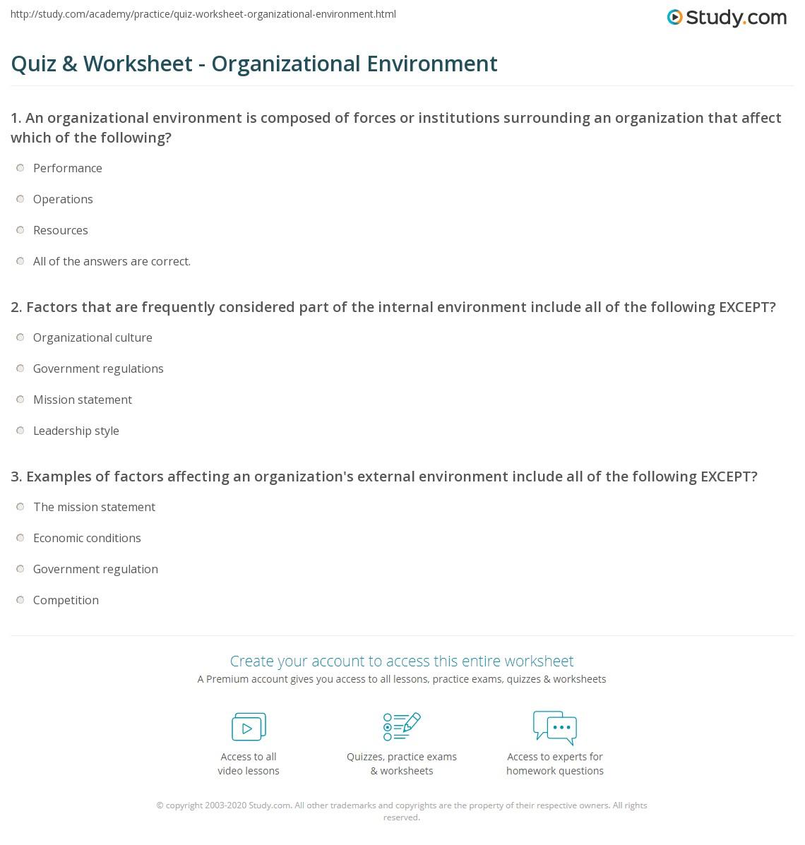 Quiz Worksheet Organizational Environment Study