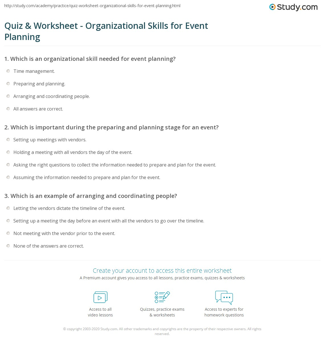 event planner worksheet