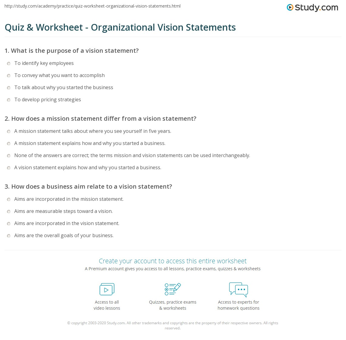 quiz & worksheet - organizational vision statements | study