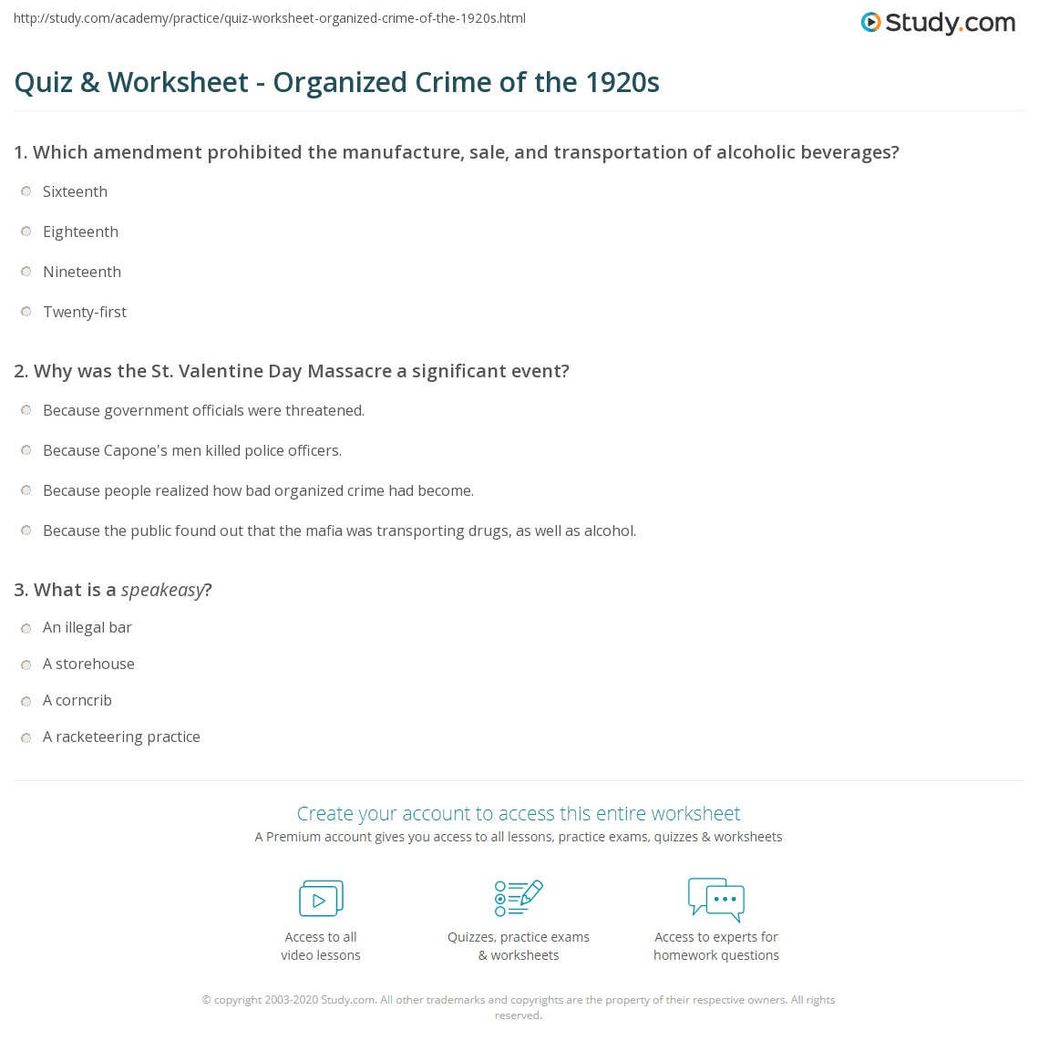 quiz worksheet organized crime of the 1920s