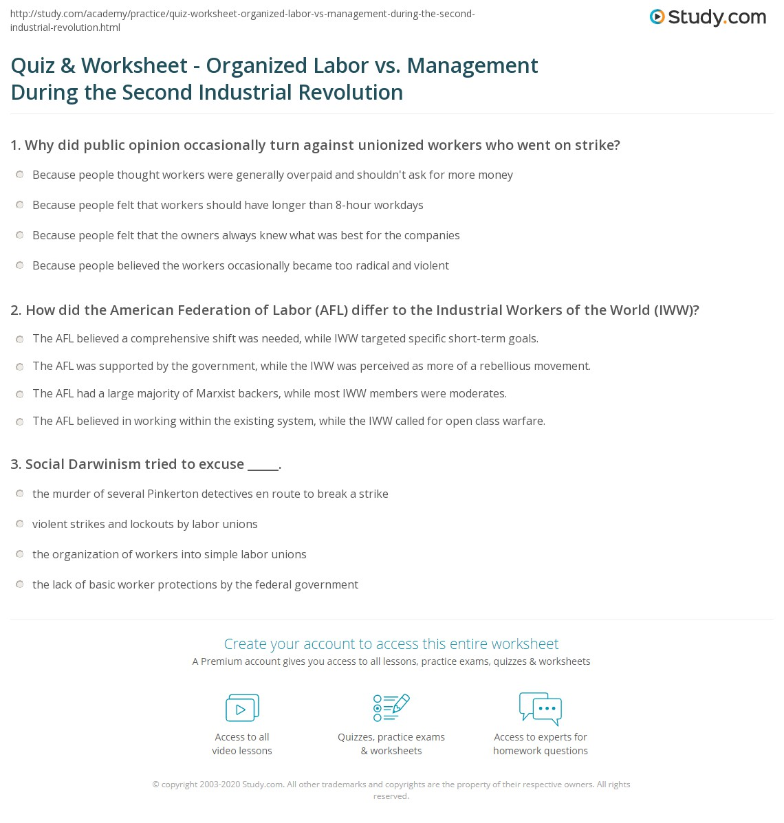 Uncategorized Industrial Revolution Worksheet quiz worksheet organized labor vs management during the second print unions industrial revolution worksheet