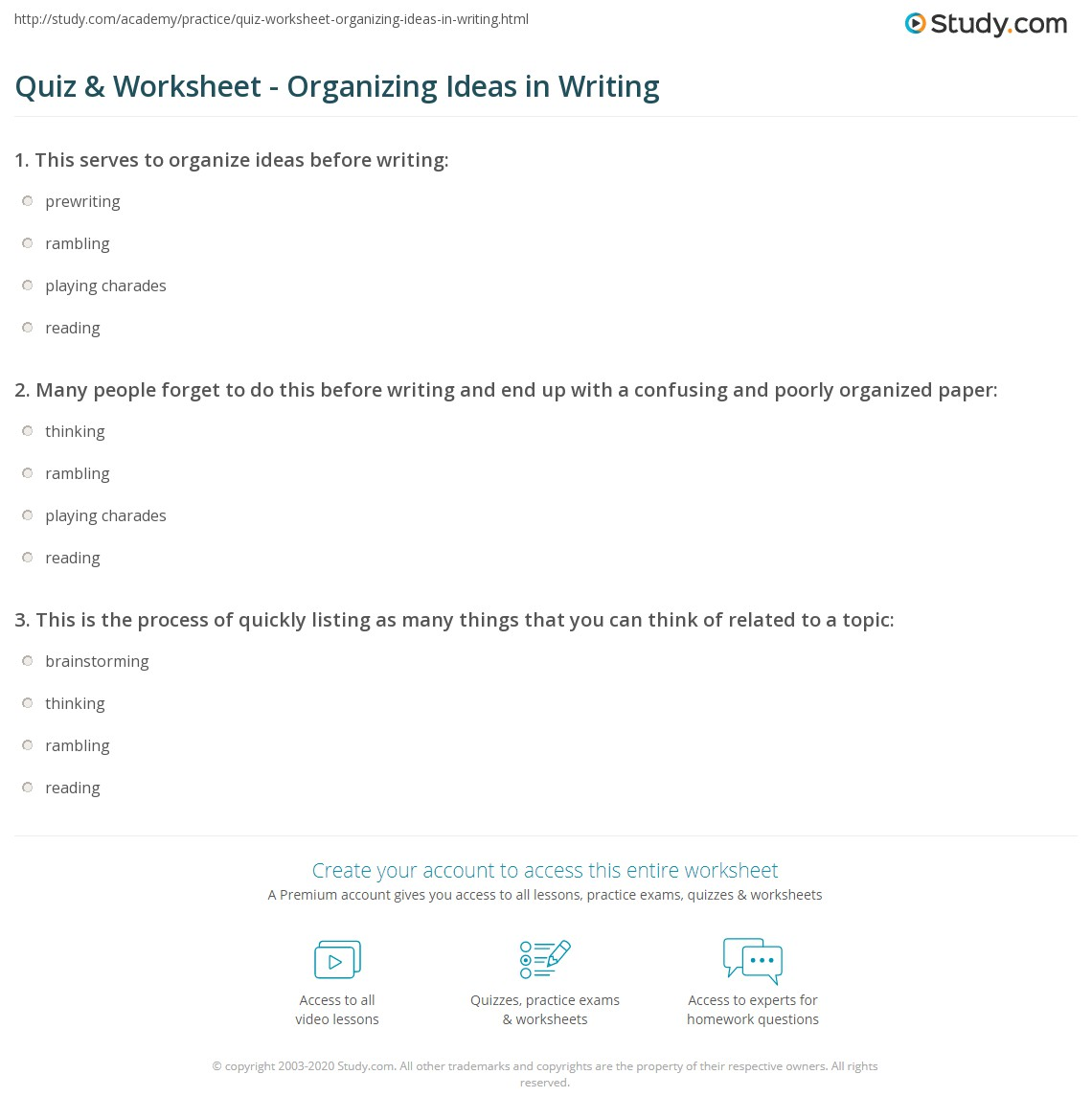 Quiz & Worksheet - Organizing Ideas in Writing | Study.com