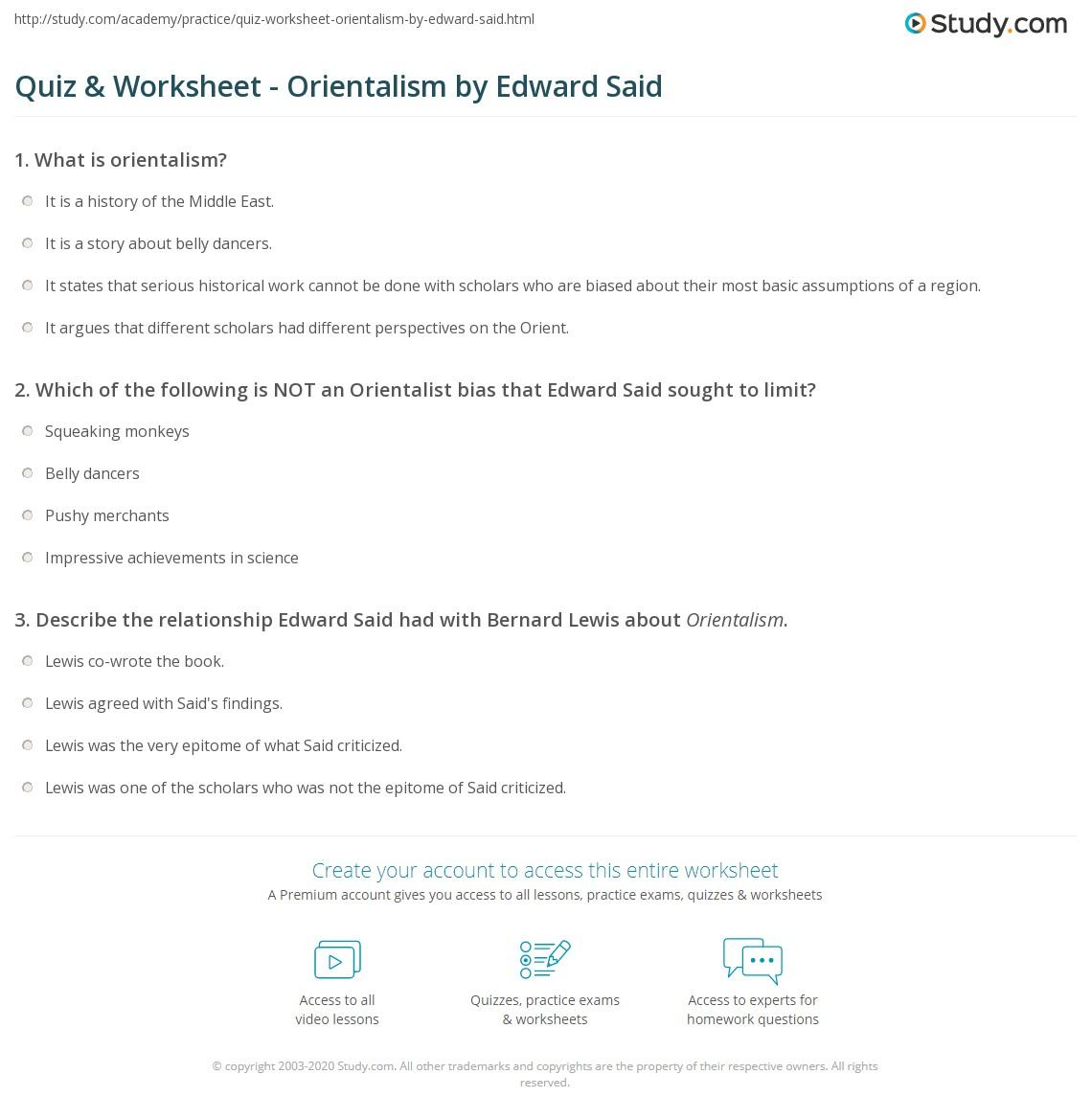 worksheet Said Worksheets quiz worksheet orientalism by edward said study com print summary concept worksheet