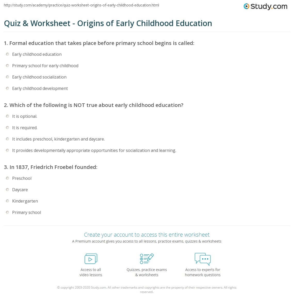Quiz & Worksheet - Origins of Early Childhood Education | Study.com