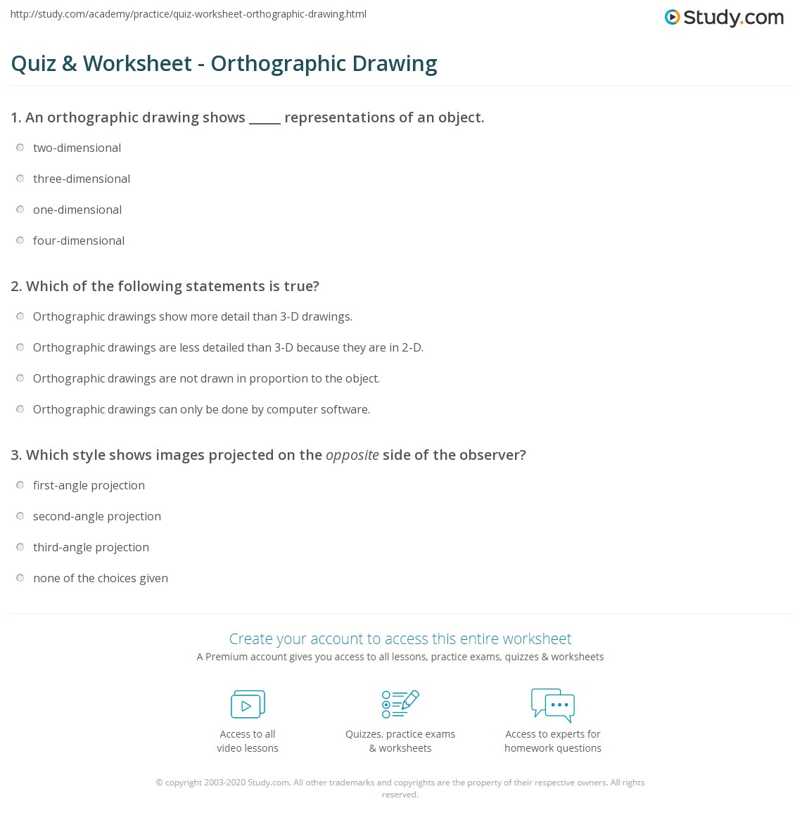 Quiz Worksheet Orthographic Drawing – Orthographic Drawing Worksheets