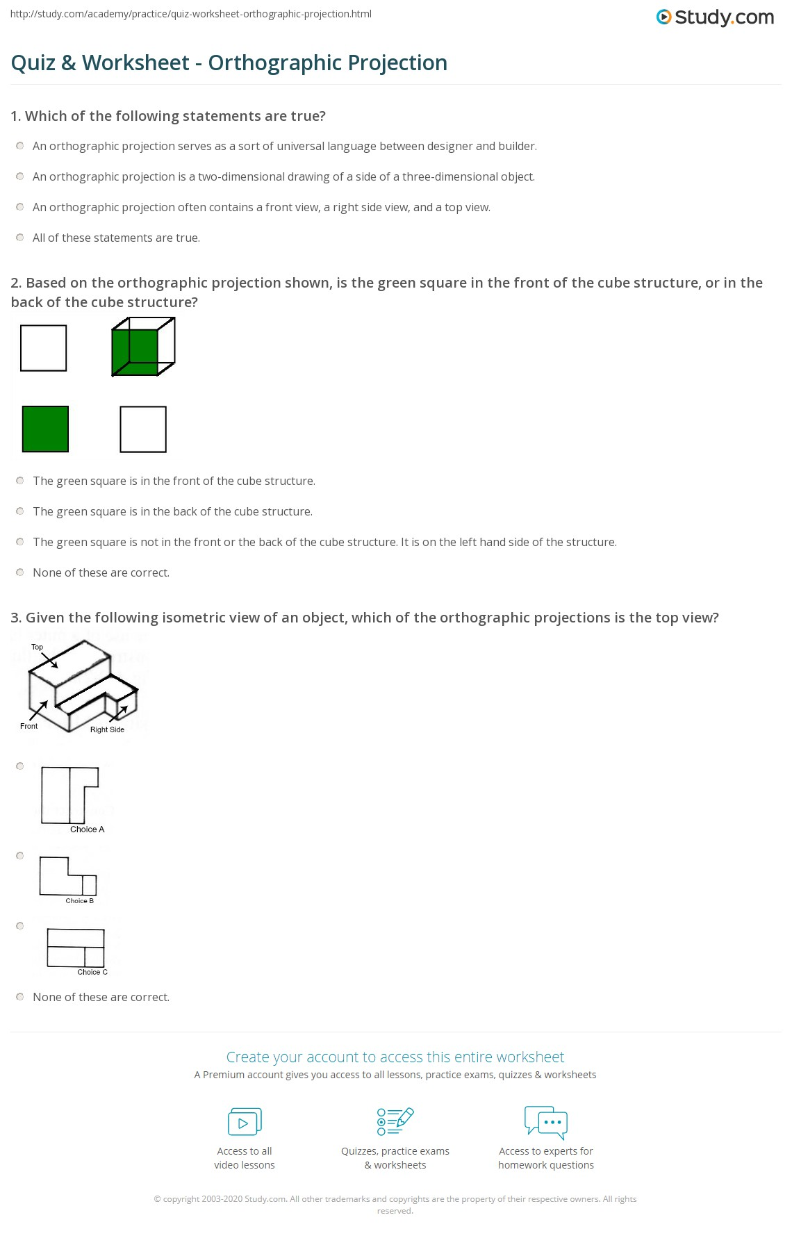 Quiz Worksheet Orthographic Projection – Orthographic Projection Worksheet