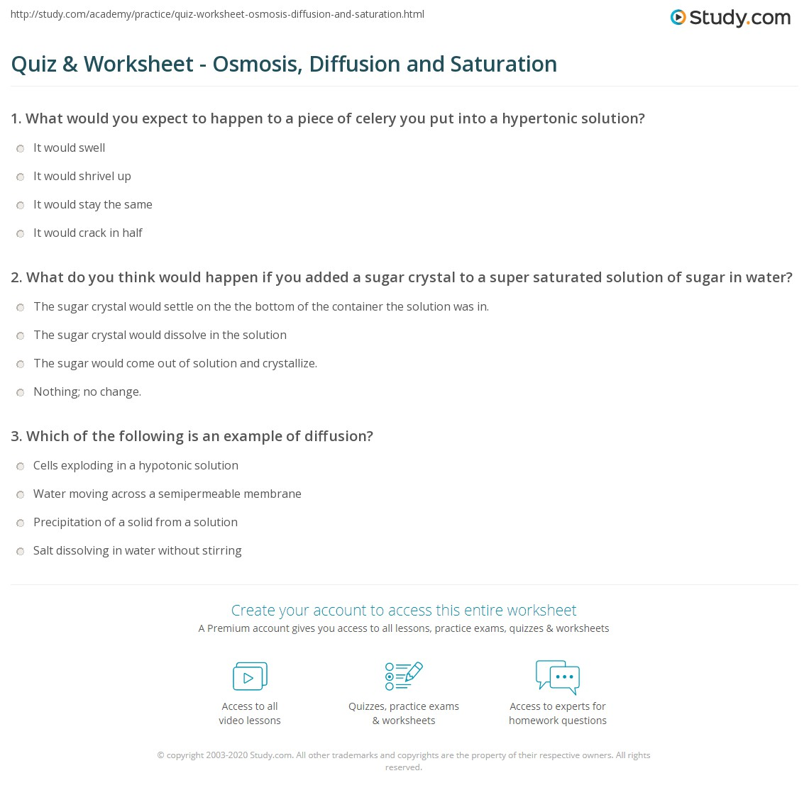 Quiz & Worksheet - Osmosis, Diffusion and Saturation | Study.com