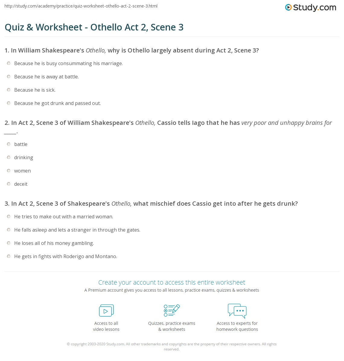 Print Othello Act 2, Scene 3 Summary & Quotes Worksheet