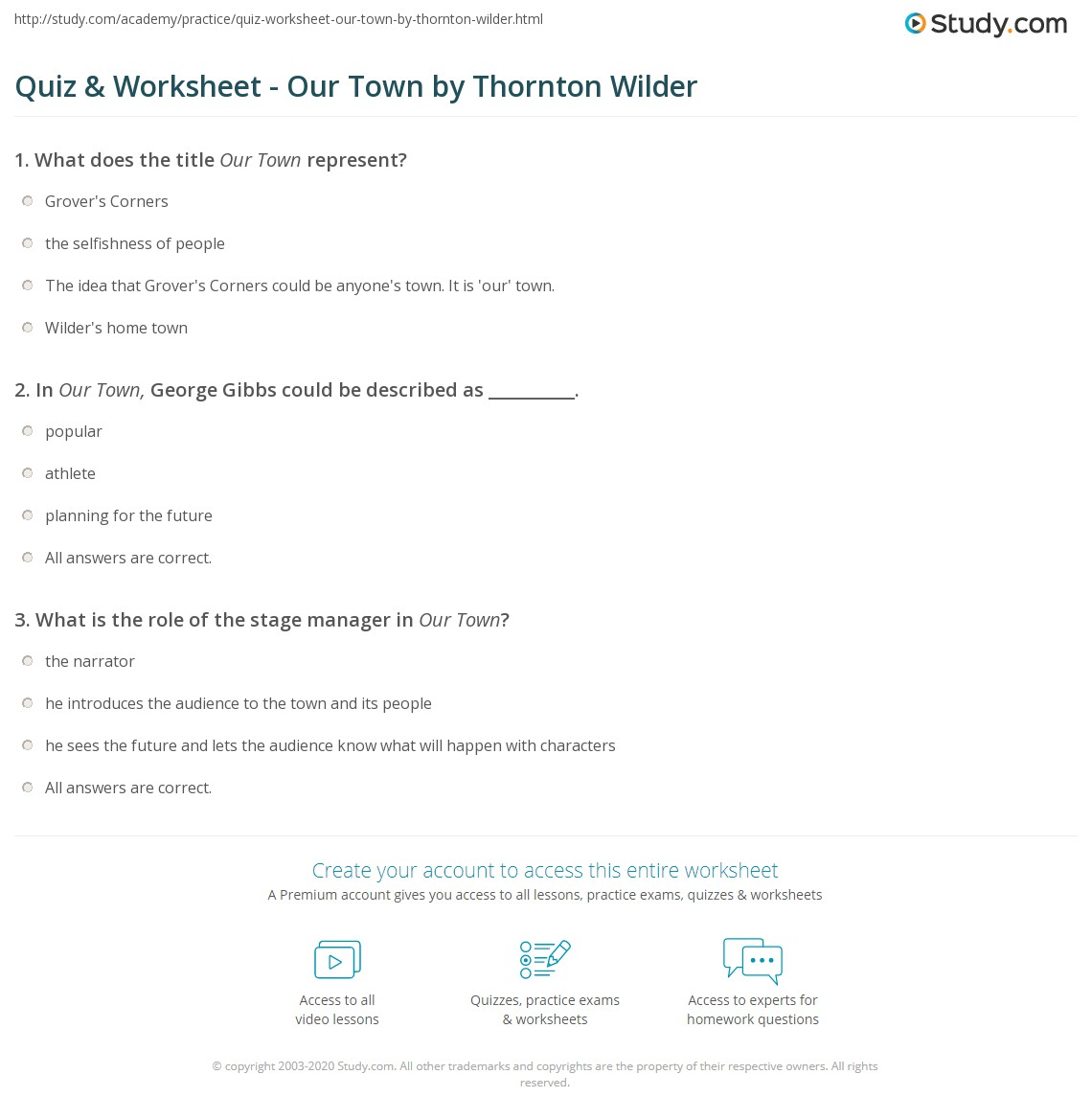 Quiz & Worksheet - Our Town by Thornton Wilder   Study.com