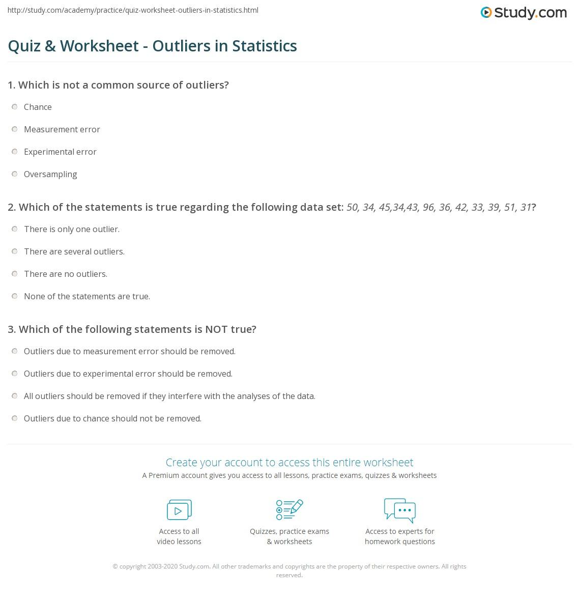 quiz worksheet outliers in statistics. Black Bedroom Furniture Sets. Home Design Ideas
