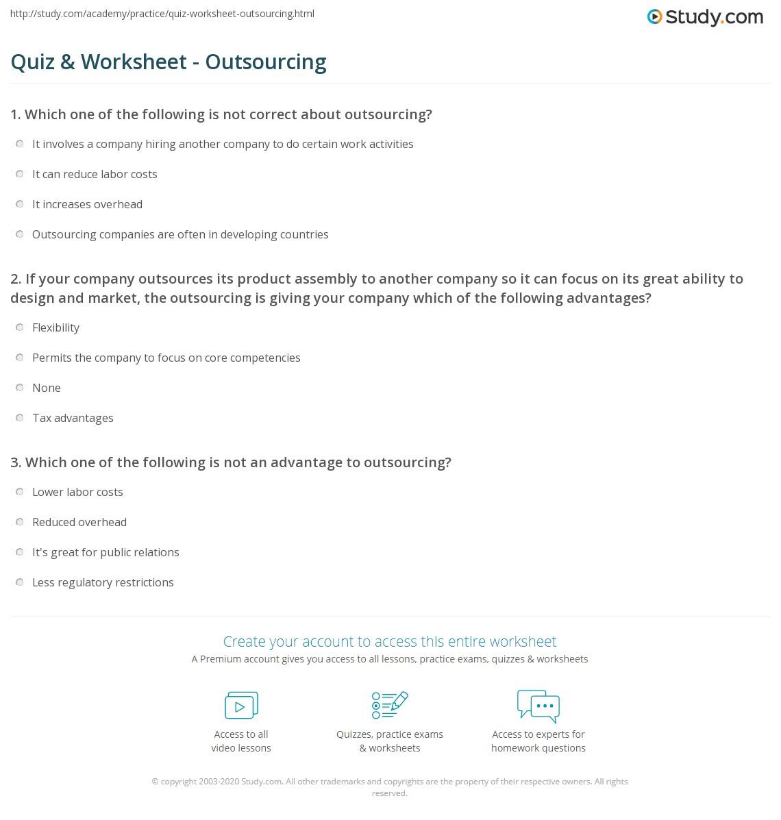 Quiz & Worksheet - Outsourcing   Study.com