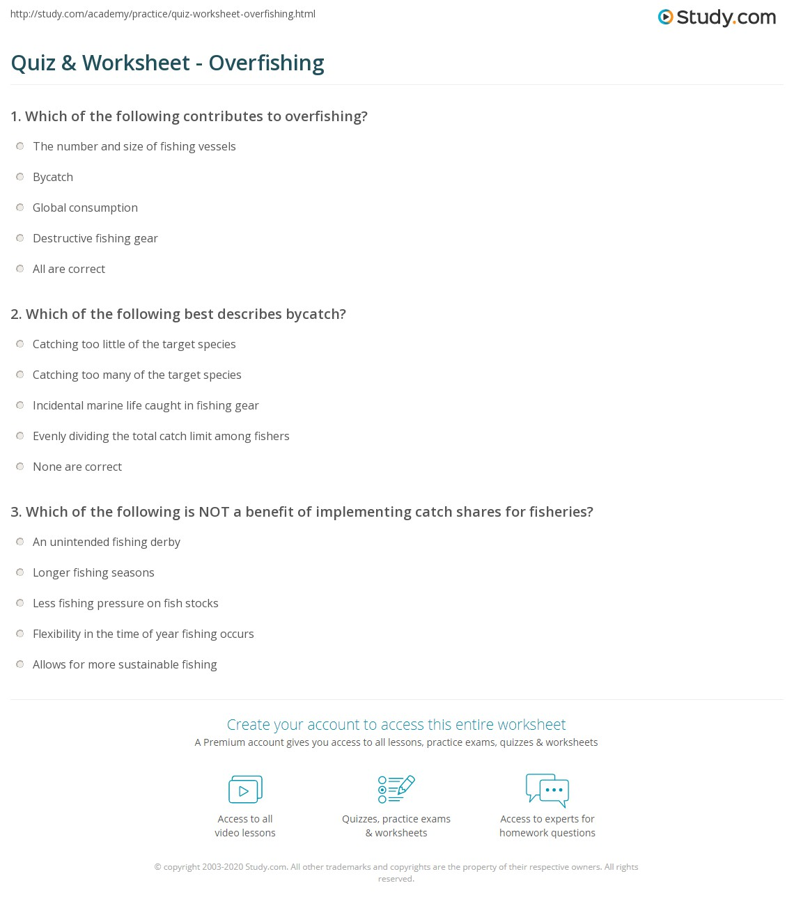 quiz worksheet overfishing