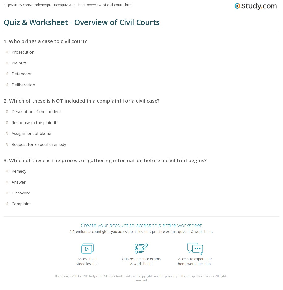 quiz & worksheet - overview of civil courts | study