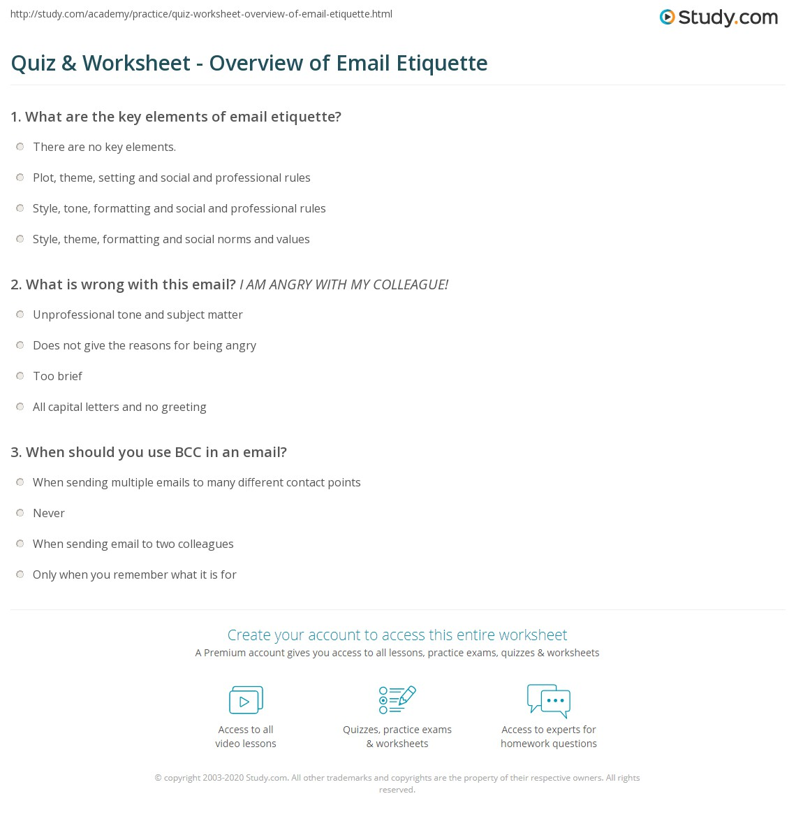 Quiz & Worksheet - Overview of Email Etiquette | Study.com