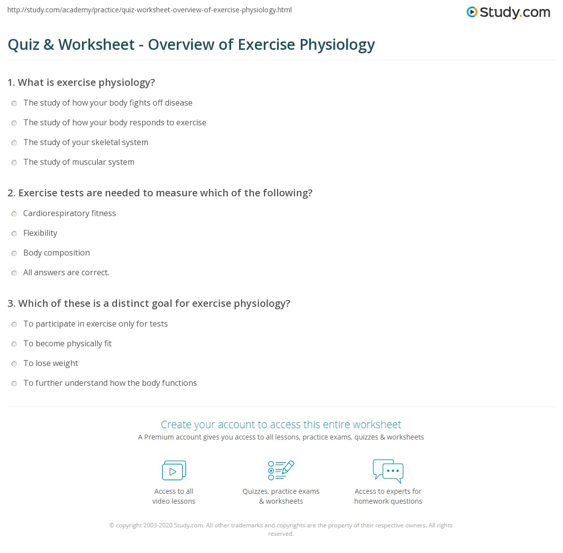 Quiz & Worksheet - Overview of Exercise Physiology | Study.com