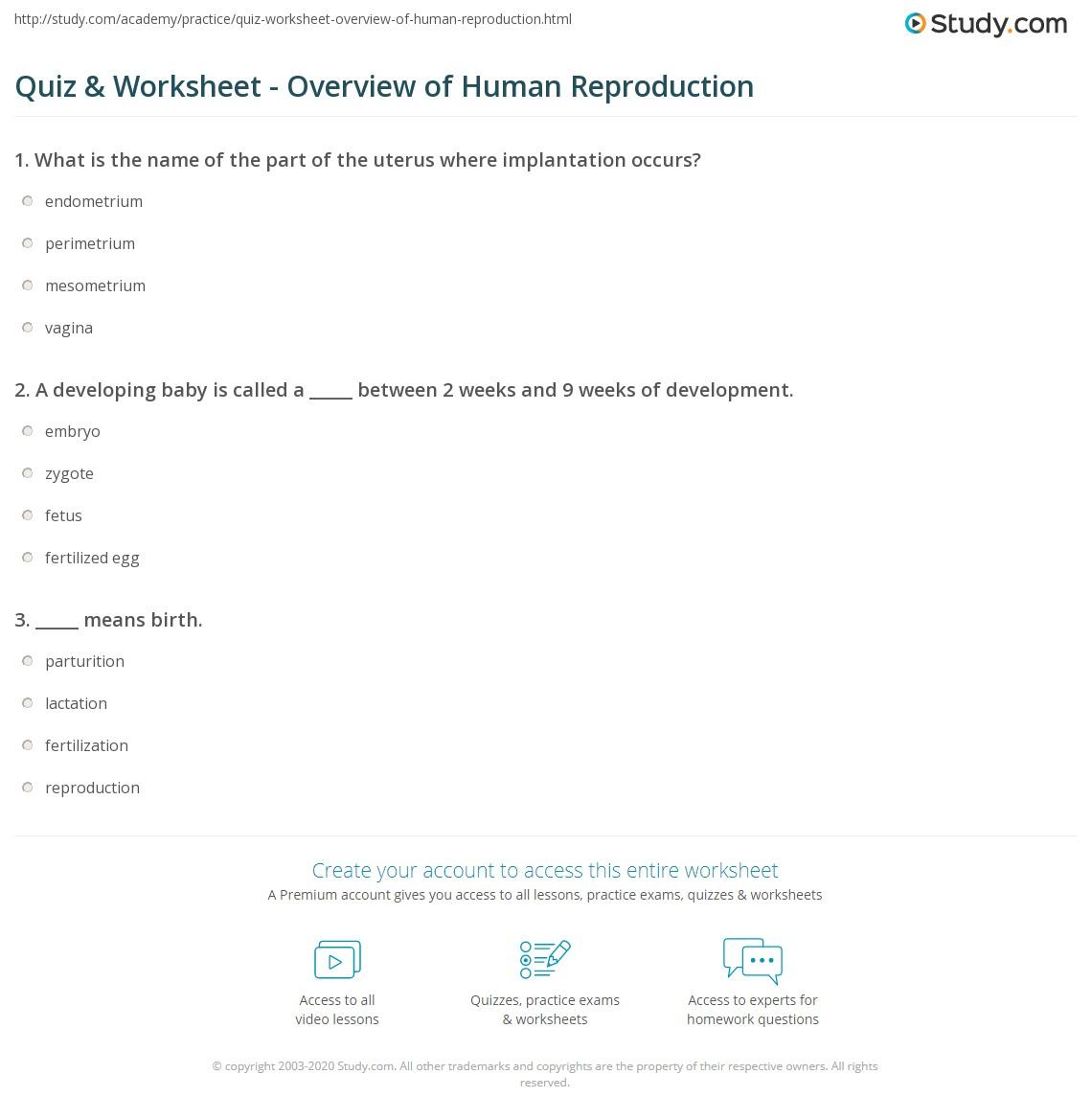 Worksheets Human Reproduction Worksheet quiz worksheet overview of human reproduction study com print worksheet