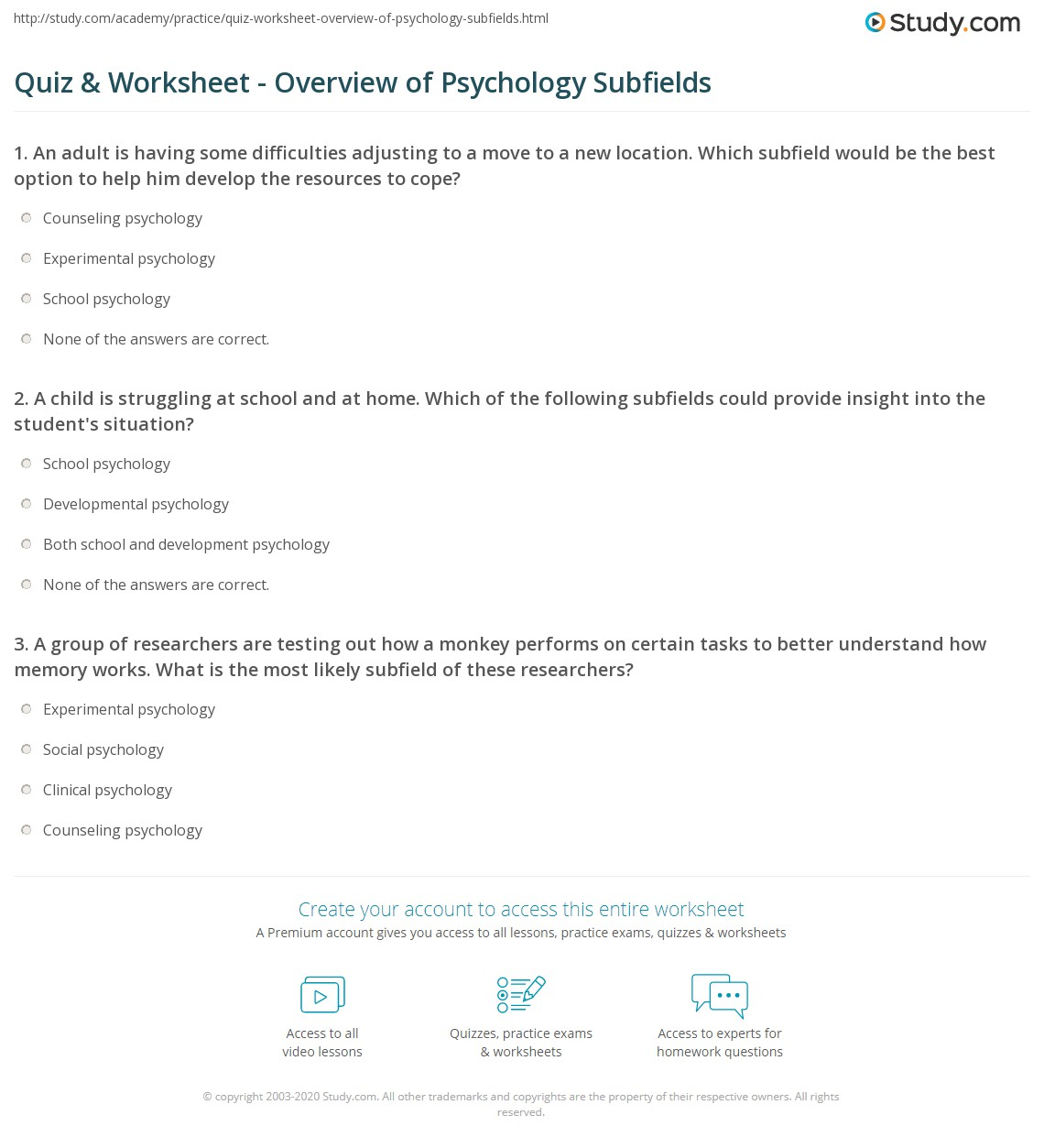 quiz worksheet overview of psychology subfields. Black Bedroom Furniture Sets. Home Design Ideas