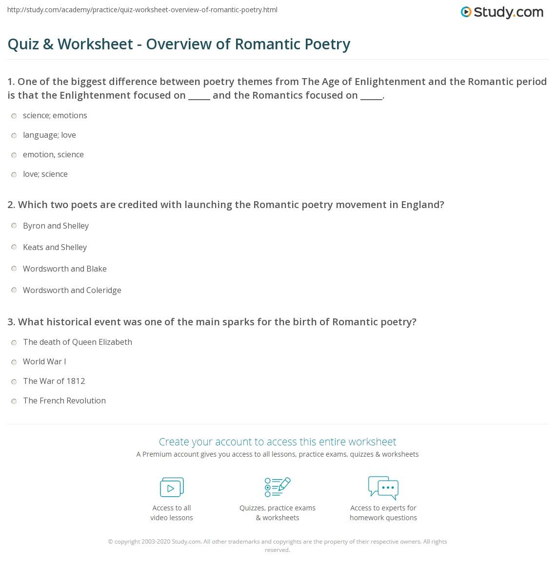 romantic period in english literature summary