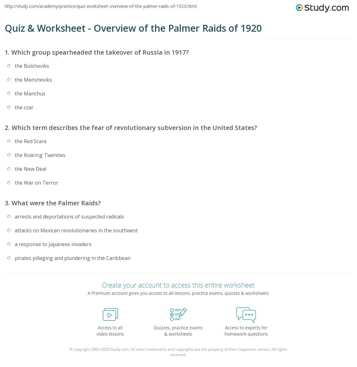 Quiz Worksheet Overview of the Palmer Raids of 1920 – Roaring Twenties Worksheets